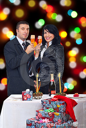 Free Couple Celebrate Christmas Night Stock Image - 16616581