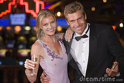 Couple celebrating inside casino