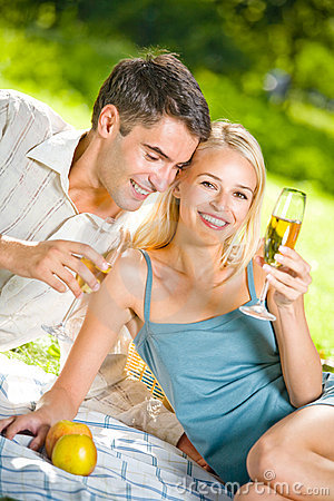 Couple celebrating at picnic