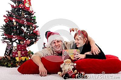 Couple Christmas home