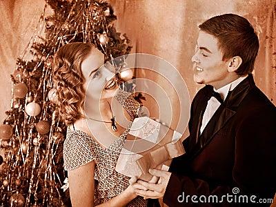 Couple on Christmas party.  Black and white retro.