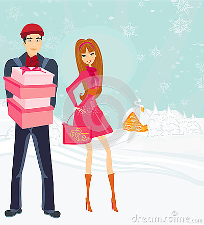 Couple on Christmas shopping