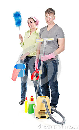 Couple cleaning the house