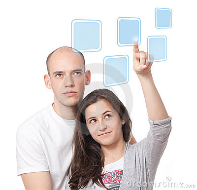 Couple clicking on a touch screen interface