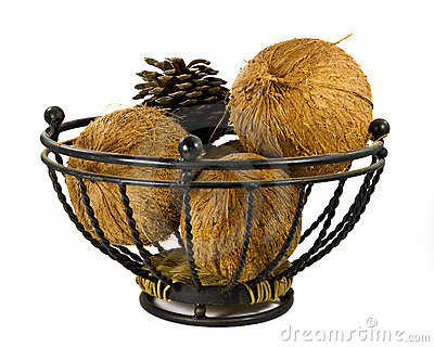 Couple of coconuts and a pine cone in a metal bask