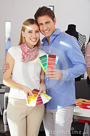 Couple with color samples fan