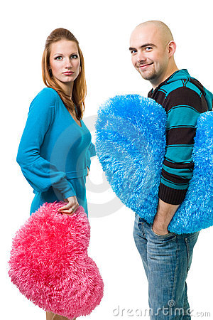 Couple with color teddy hearts