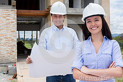 Couple at a construction site