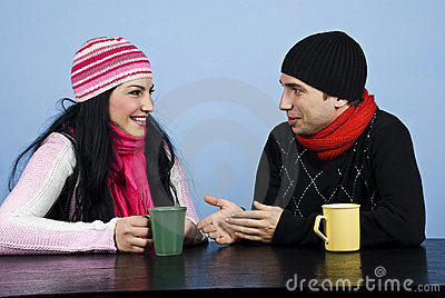 Couple conversation and laughing together