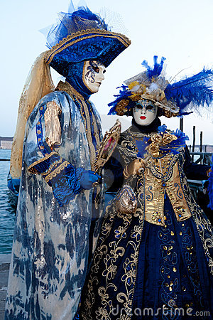 Couple in costumes on Venetian carnival Editorial Image