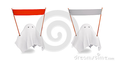 A couple of cute ghost with an different banner