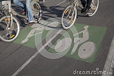 Couple of Cyclists on Bike Lane