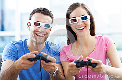 Couple in 3d glasses