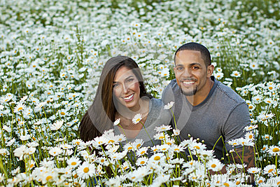Couple in Daisy Field