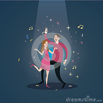 Couple dance together celebration under spot light male female happy romance fun Vector Illustration