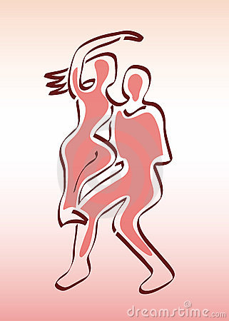 Couple of Dancers - Man and Woman Silhouettes