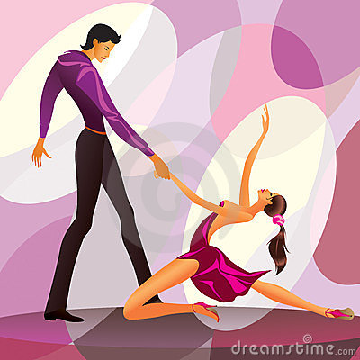 Couple dancers in romantic scene