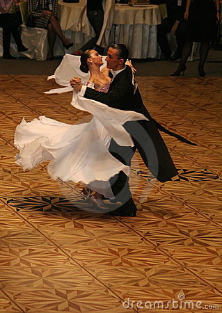 Free Couple Dancing On Ballroom Floor, Lady In White Stock Photo - 8631450