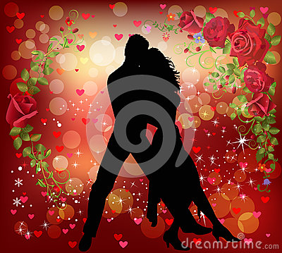 Couple dancing in a romantic background