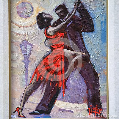 Free Couple Dancing Tango - Painting Royalty Free Stock Photography - 60676547