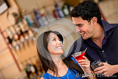 Couple on a date having drinks