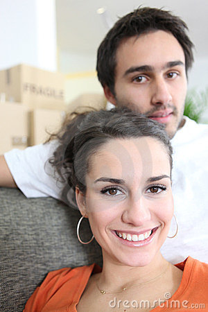 Couple on day of move