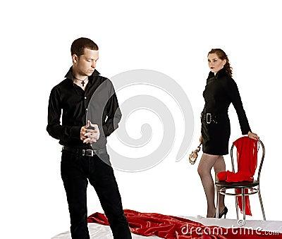 Couple in decadence style - jealousy scene