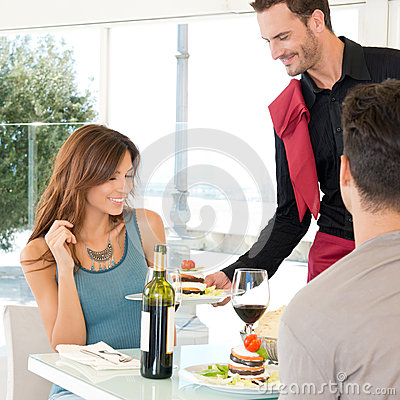 Couple Dining At Restaurant