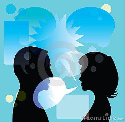 Couple discuss in bubble