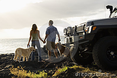 Couple and Dogs at the Beach