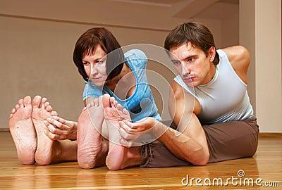 Couple doing yoga practice