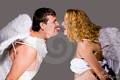 Couple dressed as angels