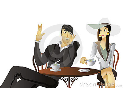 Couple drinking coffee on a date