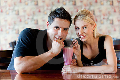 Couple Drinking Milkshake