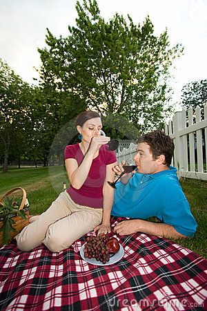 Couple Drinking at Picnic - vertical