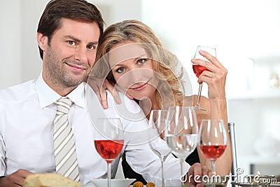 Couple drinking rose
