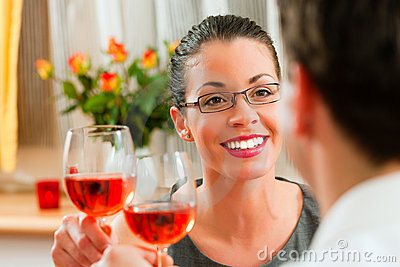 Couple drinking rose wine