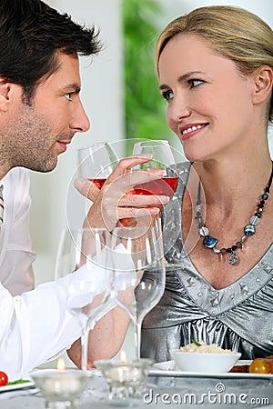 Couple drinking rose wine