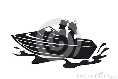 Couple driving speed boat silhouette Stock Photo