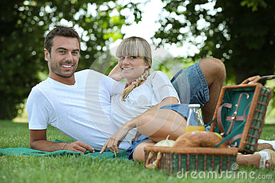 Couple eating a picnic