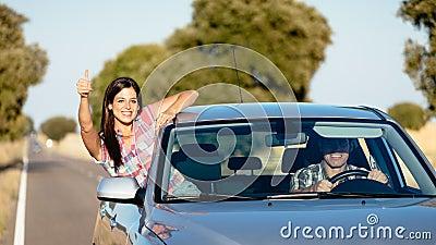 Couple enjoy freedom on car travel