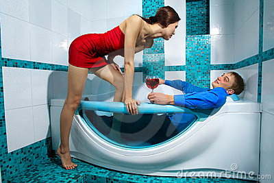 Couple is enjoying a bath