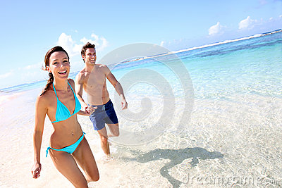 Couple enjoying beach time
