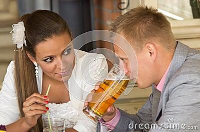 Couple enjoying drinks