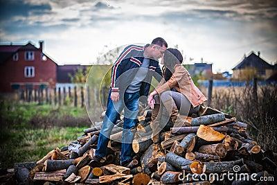 Couple enjoying golden autumn fall season