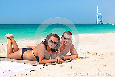Couple enjoying holidays on the beach