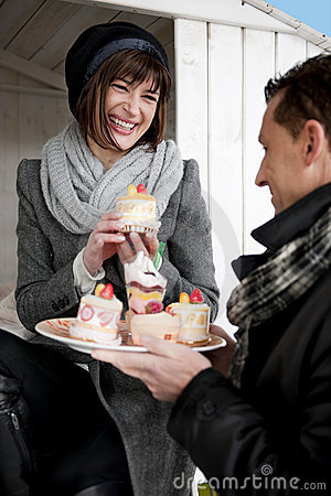 Couple Enjoying Pastry