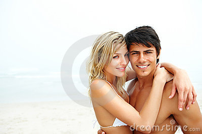 Couple enjoying themselves at the beach