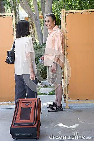 Couple Entering Resort