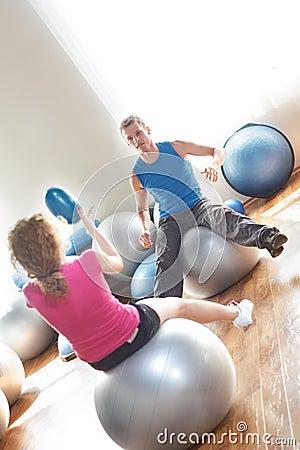 Couple on exercise balls